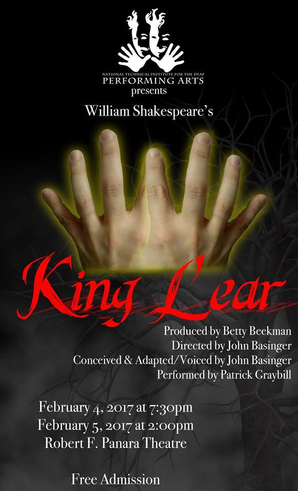 National Theatre of the Deaf to Present Excerpts of Deaf Theatre Adaptation of Shakespeare's King Lear at Eugene O'Neill Theatre Centre